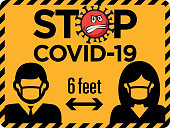 Social distance sign with Coronavirus protecting society. Social distancing from each other during Coronavirus infection pandemic, Imperial feet and inches.