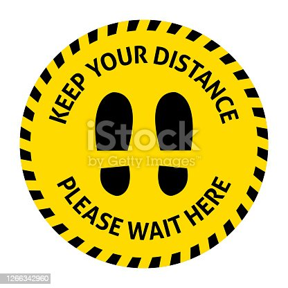 Social distance sticker on floor. Keep your distance. Coronavirus Covid-19. Stock vector illustration on a white isolated background.