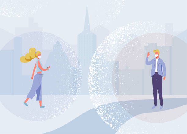 Social distance vector design concept. Illustration background about preventive measures, human protection in the big city. Man and woman preserve distancing during an epidemic coronavirus disease vector art illustration