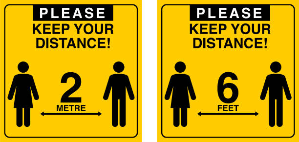Social Distance Social distance warning sign in vector distant stock illustrations