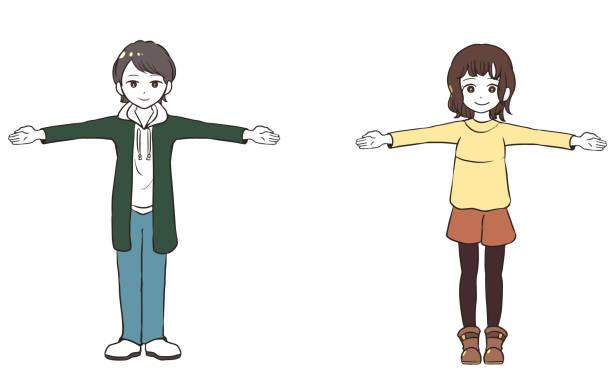 社会的距離(両手を広げてお子様) ベクターアートイラスト