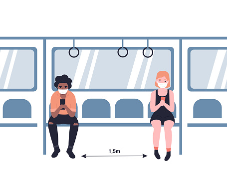 social distance with coron... in the subway concept