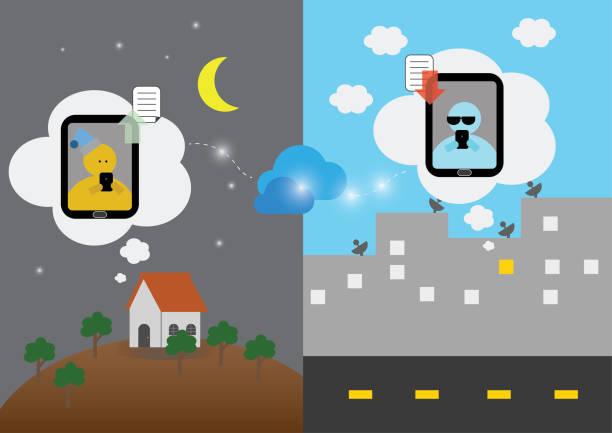 illustrations, cliparts, dessins animés et icônes de travail social à distance de la réunion facetime à domicile de mobile à travers le fuseau horaire par la conception de dessin animé. la technologie cloud a mis en œuvre pour la connexion à distance - facetime