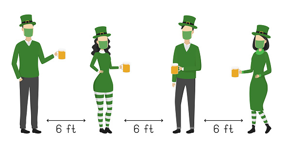 Social distancing 6 feet on St. Patrick's Day. Poster. Vector illustration