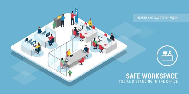 stockillustraties, clipart, cartoons en iconen met sociale distantiëring en coronaviruspreventie op kantoor - corona scherm