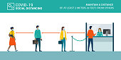 Social distancing and coronavirus covid-19 prevention: maintain a safe distance from others in public offices and banks