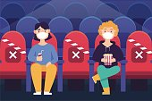 Social distancing and wearing mask after pandemic of covid-19 corona virus. New normal is stay apart and personal distance. Couple watching movie in theater separate sitting on seat.