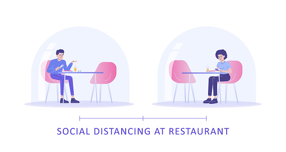 Social Distancing at Restaurant Concept. Young man and woman sitting at tables separated from each other and eating. Protection from Coronavirus. Prevention of COVID-19 spread. Vector illustration