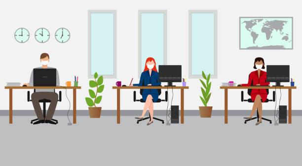 ofiste sosyal mesafe. maske ile çalışan i̇ş adamları - office stock illustrations