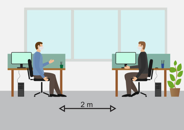 illustrazioni stock, clip art, cartoni animati e icone di tendenza di social distancing at the office.workers working with mask - businessman covid mask