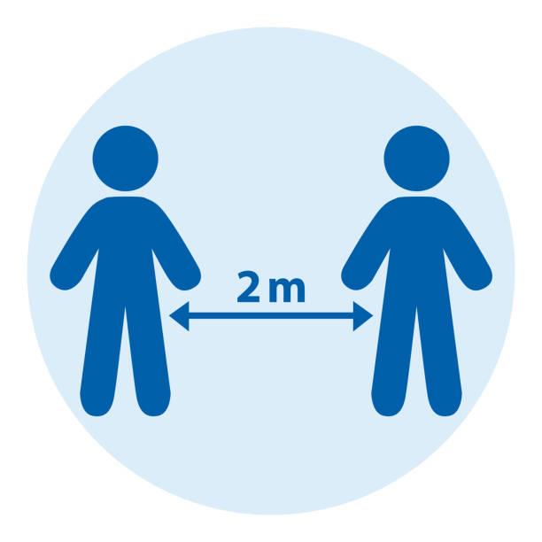 illustrations, cliparts, dessins animés et icônes de distanciation sociale entre deux personnes. illustration bleue ronde d'icône de vecteur. - covid france