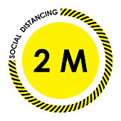 Social distancing. black and yellow warning sign. Keep 2 meter distance. Coronovirus epidemic protective. Vector illustration
