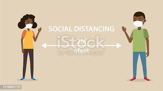 Social distancing black man and woman character wearing medical mask  maintain to prevent from virus