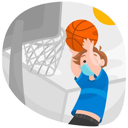 Social distancing boy activity Vector Illustration