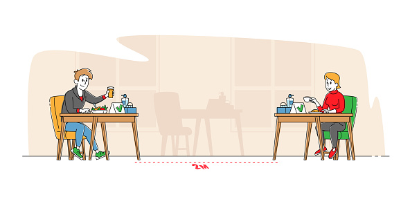 Social Distancing. Characters Sitting at Disinfected Cafe Tables Stand on Distance Drink Coffee with Sanitizer on Desk