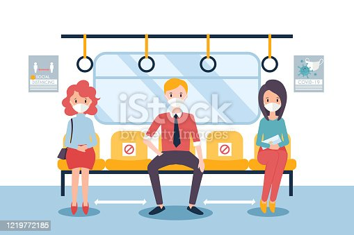 istock Social distancing concept  for covid-19 with people in a train. 1219772185