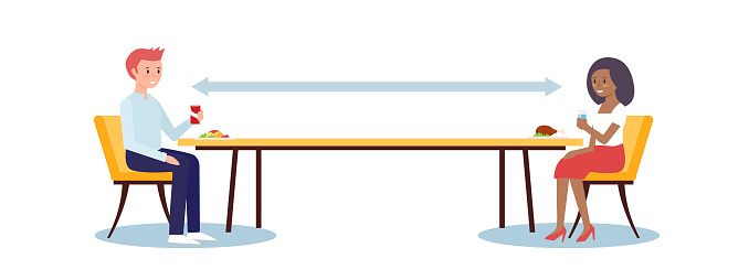 Social distancing concept illustration showing people in a restaurant