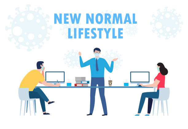 illustrazioni stock, clip art, cartoni animati e icone di tendenza di social distancing concept of teamwork of business office people maintain new normal lifestyle at job working. stop covid-19 coronavirus isolated on white background vector illustration - new normal