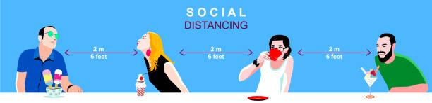 Soziales Entsüchterungskonzept, Menschen, die wegstehen, um COVID-19 Coronavirus-Krankheit zu verhindern – Vektorgrafik