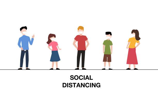 illustrations, cliparts, dessins animés et icônes de concept social de distanciation des gens debout pour empêcher covid-19 sur le fond blanc. illustration vectorielle - enfant masque