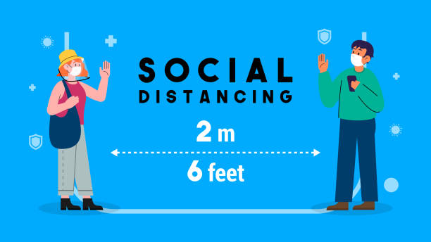 Social distancing concept vector illustration. men and female keep stand 2 meters apart in public to protect from COVID-19 Social distancing concept vector illustration. men and female keep stand 2 meters apart in public to protect from COVID-19 illness prevention stock illustrations