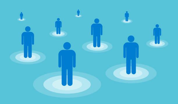 Social distancing concept, vector illustration vector art illustration