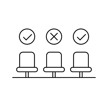 Chairs with check mark and cross sign. Black outline on white background. Vector illustration, line icon