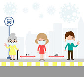 Social distancing concept with people wearing medical masks at the bus stop during Coronavirus or covid-19. outbreak new normal lifestyle. avoid spreading illness of COVID-19.vector illustration.