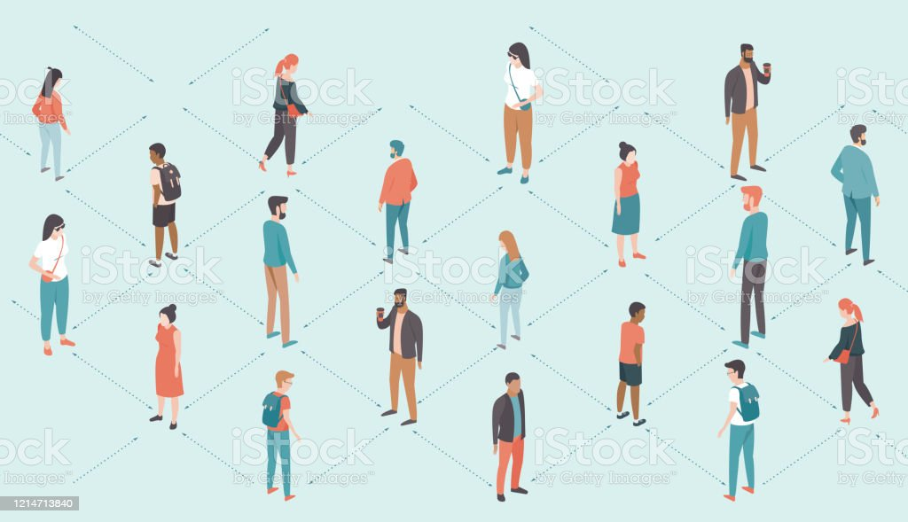Social distancing  during coronavirus COVID-192019-ncovdisease oubreak Social distancing concept during coronavirus COVID-192019-ncovdisease oubreak. People keep distance from each other. Flat vector illustration 2019 stock vector