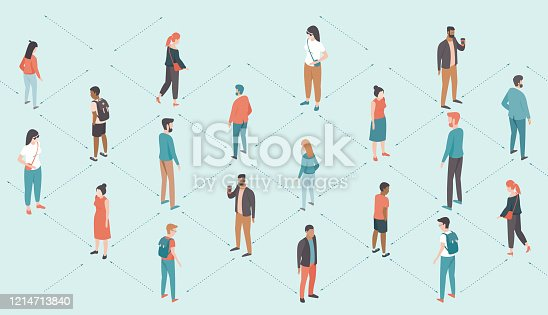 Social distancing concept during coronavirus COVID-19 2019-ncov disease oubreak. People keep distance from each other. Flat vector illustration