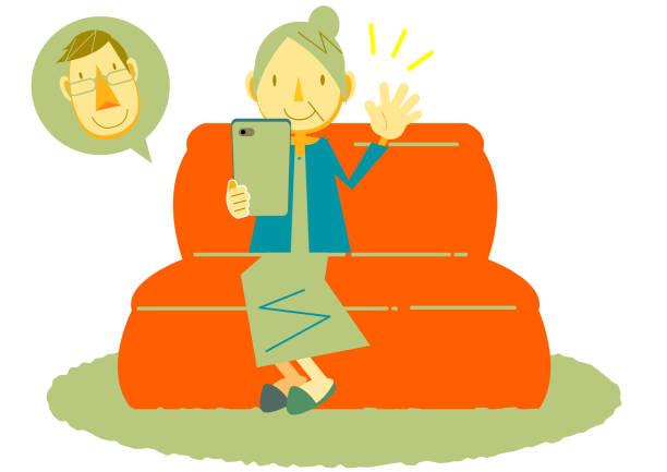 soziale entsung servierung familie im internet sprechen - smartphone mit corona app stock-grafiken, -clipart, -cartoons und -symbole