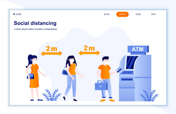 Social distancing flat landing page. Coronavirus protection public health practice. People in medical masks keeping distance in bank. vector art illustration