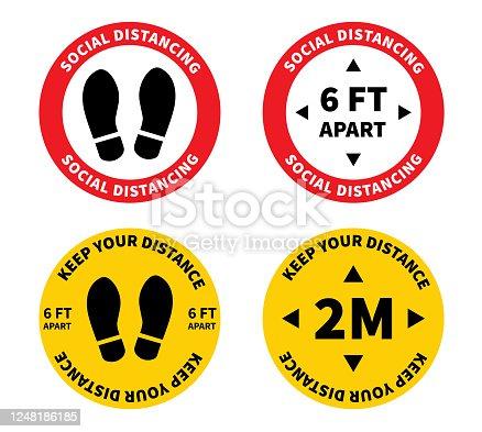 istock Social distancing. Footprint sign. Keep the 1-2 meter distance. Coronovirus epidemic protective. Vector illustration 1248186185