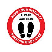 Social distancing. Footprint sign. Keep the 2 meter distance. Coronovirus epidemic protective. Vector illustration