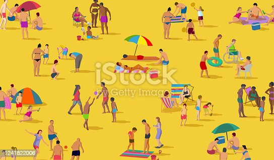 istock Social Distancing Groups at the Beach 1241822006