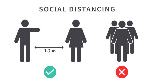 Social distancing icon. Keep the 1-2 meter distance. Coronovirus epidemic protective. Vector illustration stock illustration Social distancing icon. Keep the 1-2 meter distance. Coronovirus epidemic protective. Vector illustration stock illustration distant stock illustrations