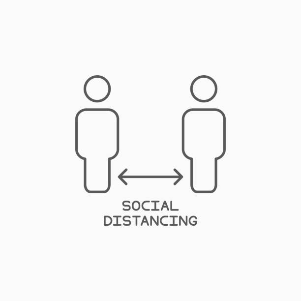 social distancing icon, safe distancing vector social distancing icon, safe distancing vector distant stock illustrations