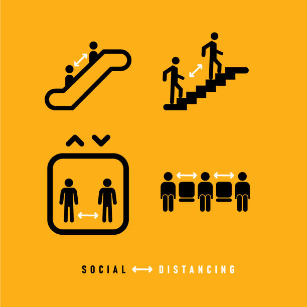 social sistancing icon set - treppe stock-grafiken, -clipart, -cartoons und -symbole
