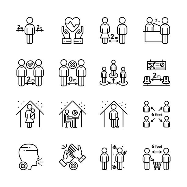 Social distancing icon set Social distancing outline icon set. Include such icons as stay home, protection, safety distance and more. vanishing point stock illustrations