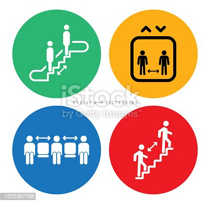 Vector icon set of social distancing to stop spreading COVID-19 coronavirus pandemic.