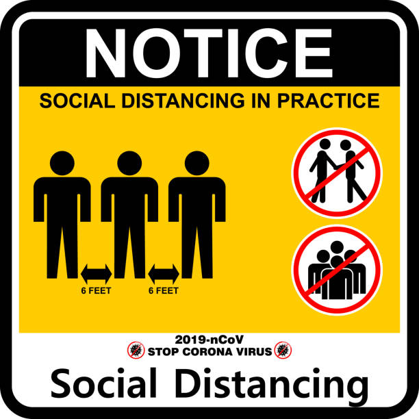 social distancing in practice, poster and banner - social distancing stock illustrations