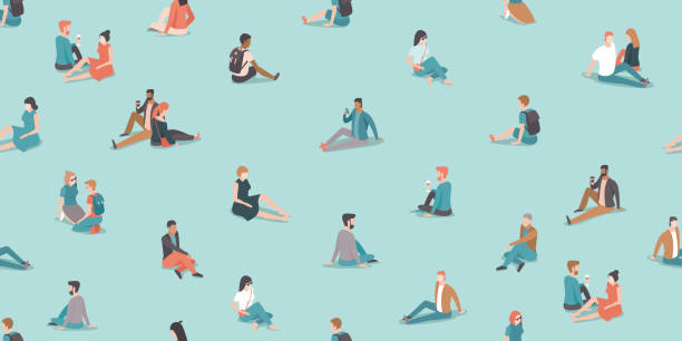 Social distancing in the park during coronavirus COVID-19 disease oubreak. People relaxing on the grass keep distance from each other. vector art illustration