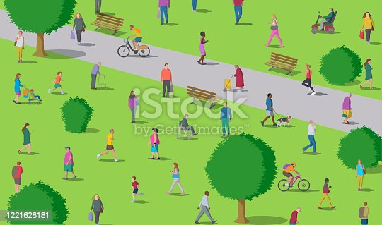 istock Social Distancing in the Park 1221628181