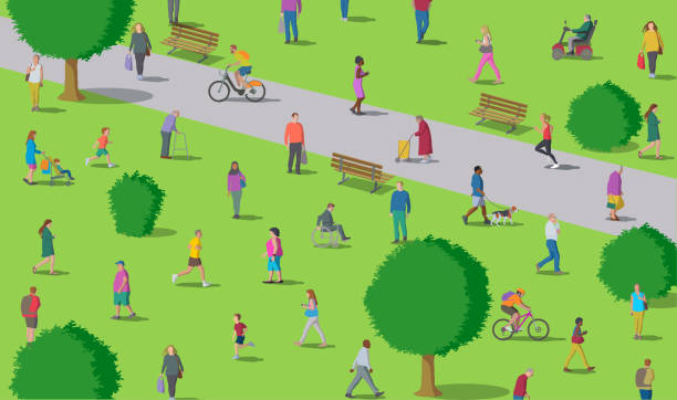 Social Distancing in the Park vector art illustration