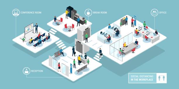 społeczne zdystansowanie się w miejscu pracy: pracownicy biura biznesowego - rzut izometryczny stock illustrations