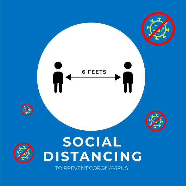 Social distancing, keep distance in public society people to protect from COVID-19 coronavirus outbreak spreading concept. Vector illustration Social distancing, keep distance in public society people to protect from COVID-19 coronavirus outbreak spreading concept. Vector illustration illness prevention stock illustrations
