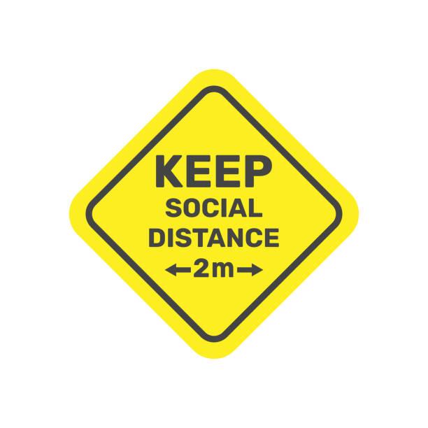 Social Distancing. Keep safe distance 2 metres icon. Warning Sign. Vector Image. EPS 10. vector art illustration
