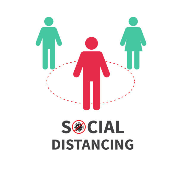 social distancing. keep the 1-2 meter distance. coronovirus epidemic protective. vector illustration - social distancing stock illustrations
