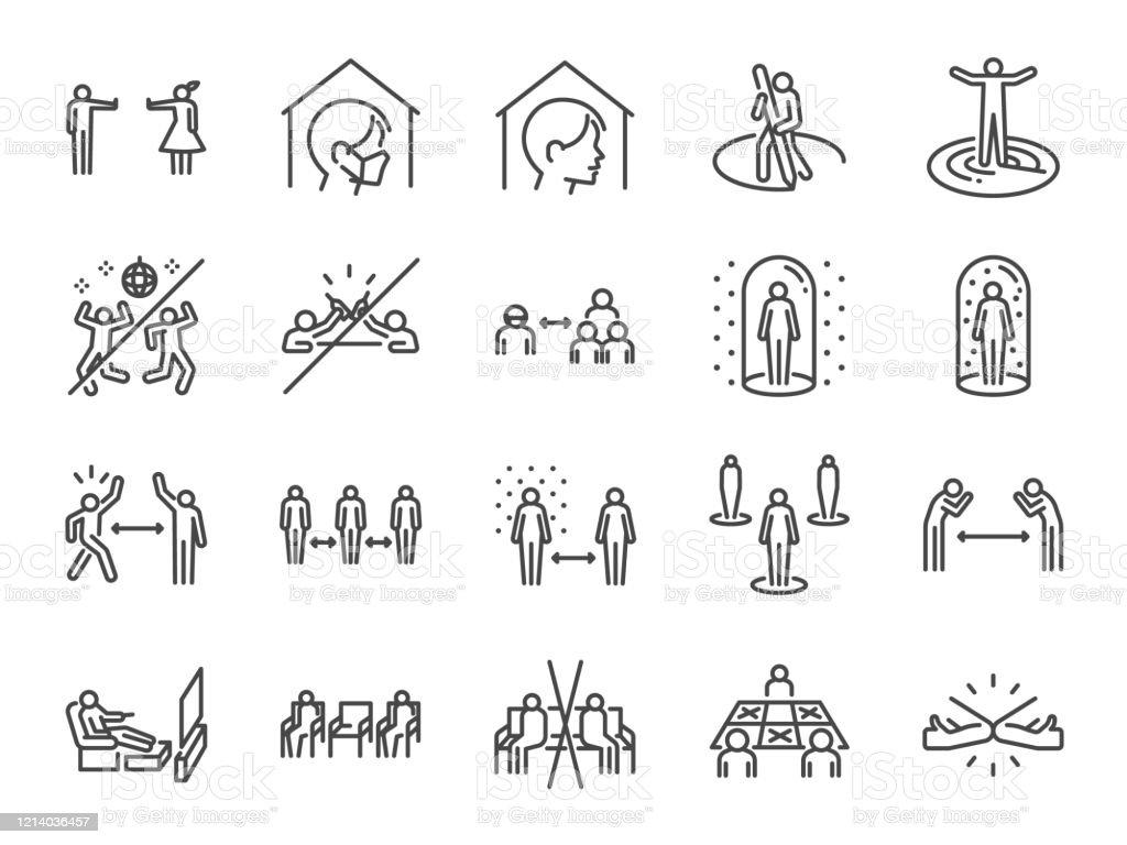 Social distancing line icon set. Included icons as self quarantine, stay home, protection, avoid crowded,space, area and more. Social distancing line icon set. Included icons as self quarantine, stay home, protection, avoid crowded,space, area and more. Adult stock vector
