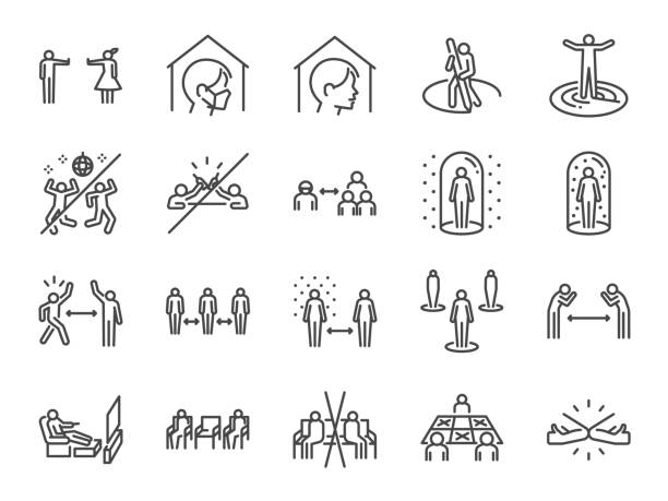 Social distancing line icon set. Included icons as self quarantine, stay home, protection, avoid crowded, space, area and more. Social distancing line icon set. Included icons as self quarantine, stay home, protection, avoid crowded, space, area and more. distant stock illustrations